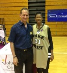 Congress Woman Donna Edwards and President of AACVC, Bruce Morgenstern at Annapolis High School during the Congresswomen's College Fair.